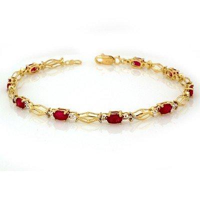 Fine 4.0ctw ACA Certified Ruby Bracelet 14K Yellow Gold