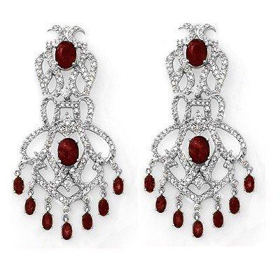 Elegant 17.50ctw Certified Diamond & Ruby Earring Gold