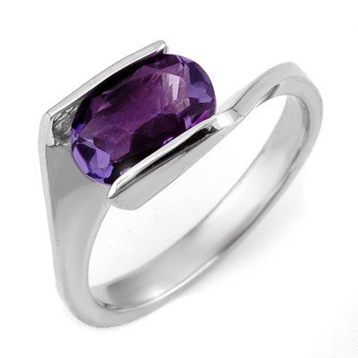 Solitaire 2.0ctw Amethyst Ring White Gold