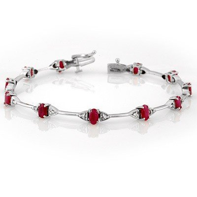 ACA Certified 2.30ct Diamond & Ruby Bracelet White Gold