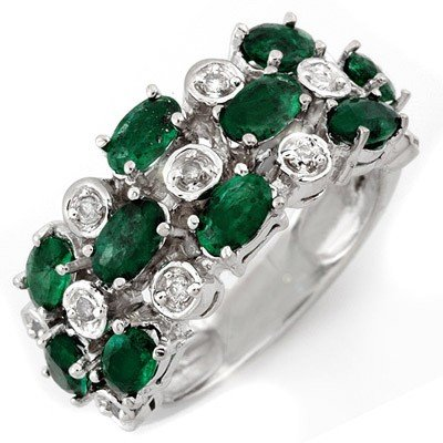 ACA Certified 2.20ctw Diamond & Emerald Ring White Gold