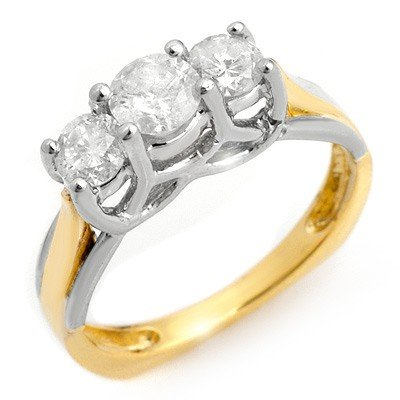 Three-Stone 1.35ctw ACA Certified Diamond Ring Gold