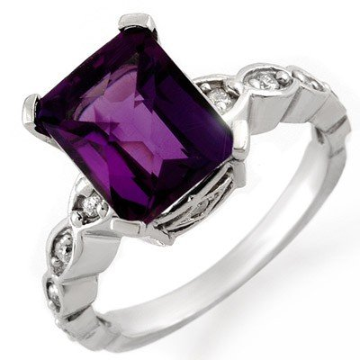 Certified 4.25ctw Diamond & Amethyst Ring White Gold