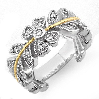 Vintage style 0.50ct Certified Diamond Band 2-Tone Gold