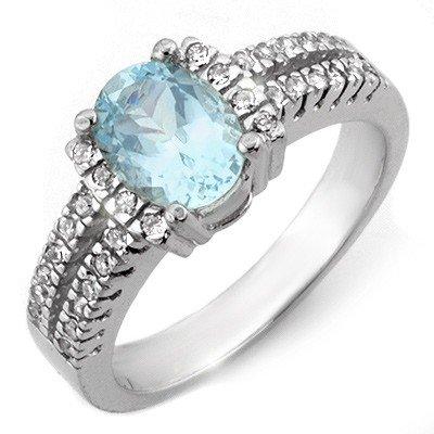 Fine 1.55ctw ACA Certified Diamond & Aquamarine Ring