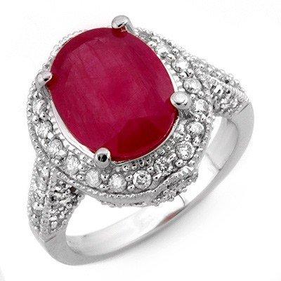 ACA Certified 6.0ctw Diamond & Ruby Ring 14K White Gold