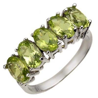 Certified 3.0ctw Peridot Five-Stone Ring White Gold