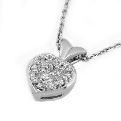 Certified 0.20ctw Diamond Heart Necklace 14K White Gold