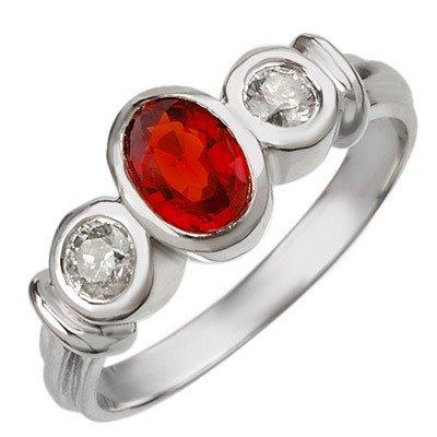 Genuine 1.05ctw Diamond & Red Sapphire Ring White Gold