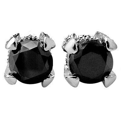 Certified 2.0ct White & Black Diamond Earrings 14K Gold