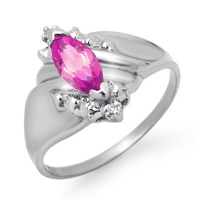 ACA Certified .52ctw Diamond & Amethyst Ring White Gold