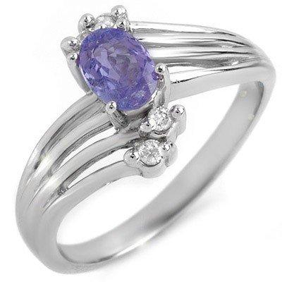 Certified 0.70ctw Diamond & Tanzanite Ring White Gold