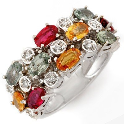 Ring 4.20ctw ACA Certified Diamond & Multi-Sapphire