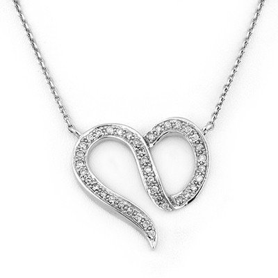 ACA Certified 0.75ct Diamond Heart Necklace 14K Gold