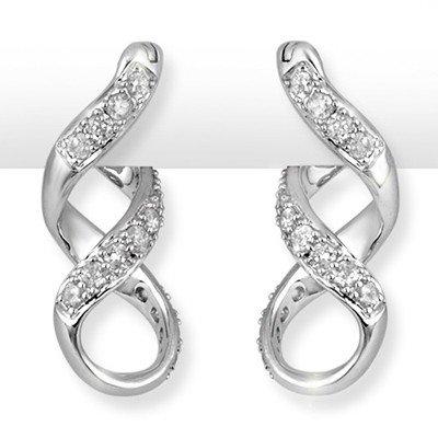 ACA Certified 0.33ctw Diamond Loop Earrings White Gold