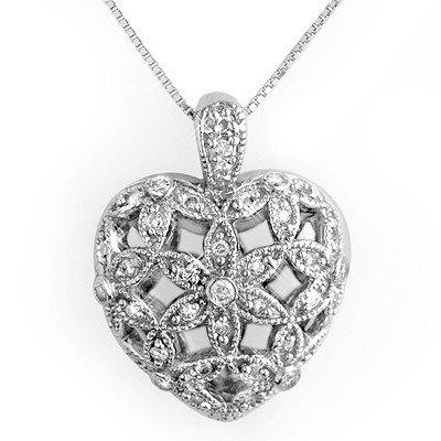 Bridal 0.70ctw ACA Certified Diamond Heart Necklace