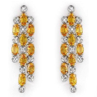 Earrings 6.33ct Certified Diamond & Yellow Sapphire 14K