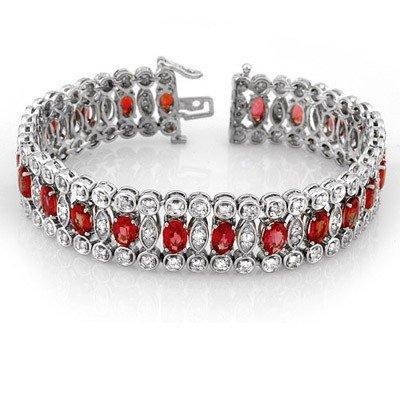 Certified 18.50ct Diamond & Red Sapphire Bracelet 14K W