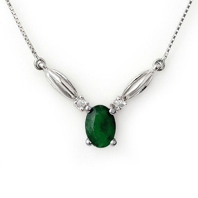 Necklace 1.30ctw Diamond & Emerald