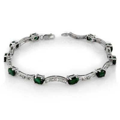 ACA Certified 4.25ctw Diamond & Emerald Bracelet Gold