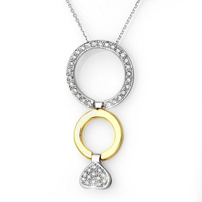 Fine 0.40ctw Certified Diamond Necklace Two-Tone Gold