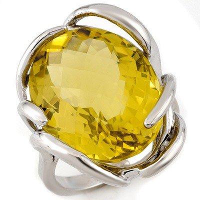 Fine 20.0ctw ACA Certified Checkered Lemon Topaz Ring