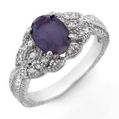 ACA Certified 1.35ctw Diamond & Iolite Ring 14K Gold