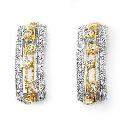 ACA Certified 0.66ctw Diamond Earrings in Two-Tone Gold