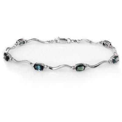 ACA Certified 4.02ct Diamond & Sapphire Tennis Bracelet