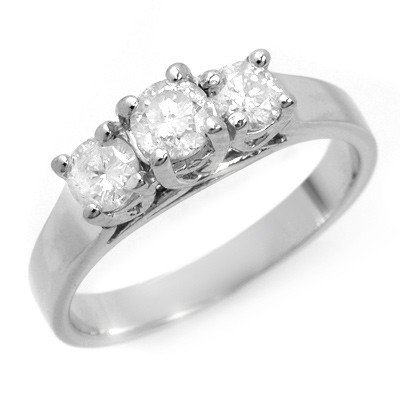 Three-Stone 1.0ctw Diamond Ring 14K White Gold