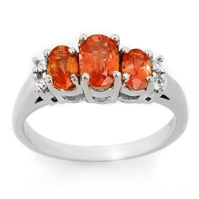 Ring 1.14ctw ACA Certified Diamond & Orange Sapphire