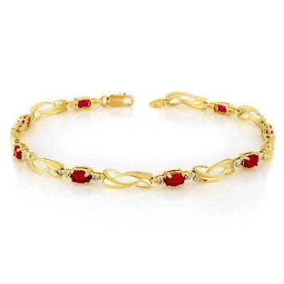 Certified 2.62ctw Diamond & Ruby Tennis Bracelet Gold