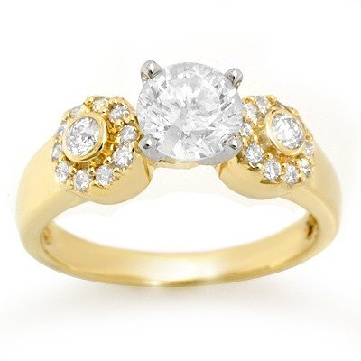 Solitaire 1.38ctw ACA Certified Diamond Ring 14K Gold