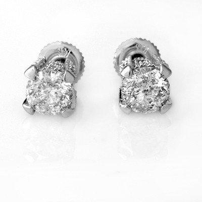 Certified 2.0ctw Diamond Stud Earrings 14K White Gold