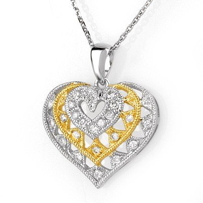 Certified 0.25ctw Diamond Heart Necklace Two-Tone Gold