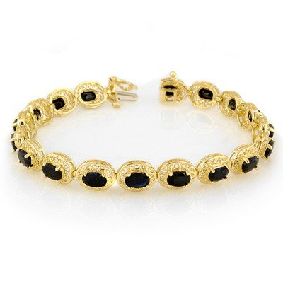 ACA Certified 12.0ct Blue Sapphire Tennis Bracelet Gold