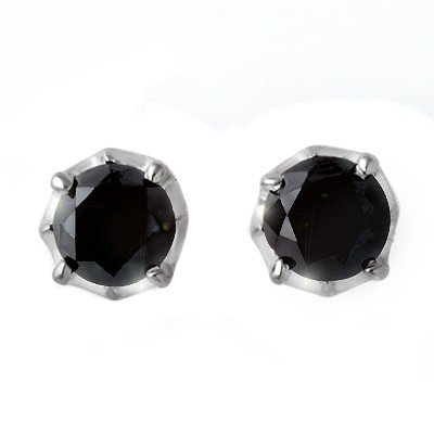 ACA Certified 2.50ctw Black Diamond Stud Earrings 14K