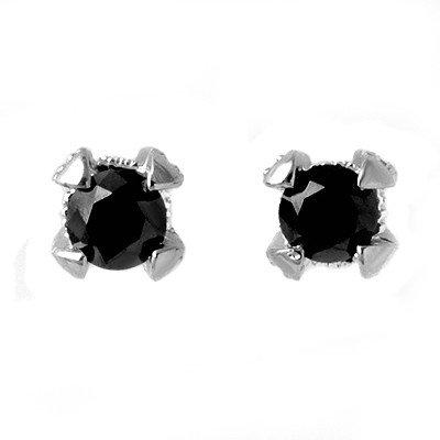 Certified 1.0ct White & Black Diamond Stud Earring Gold