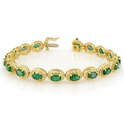 Fine 10.0ctw ACA Certified Emerald Bracelet Yellow Gold
