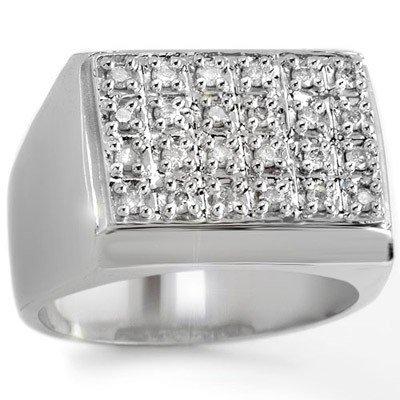 ACA Certified 0.50ctw Diamond Men's Ring in White Gold