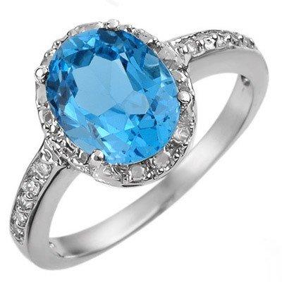 Certified 2.65ctw Diamond & Blue Topaz Ring White Gold