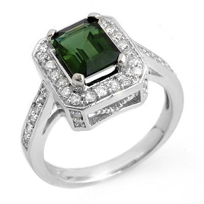 Ring 2.50ctw ACA Certified Diamond & Green Tourmaline