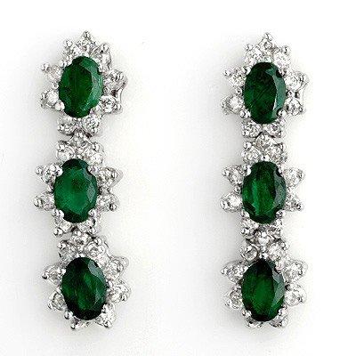 Certified 4.88ctw Diamond & Emerald Earrings White Gold