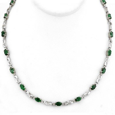ACA Certified 7.02ctw Diamond & Emerald Tennis Necklace
