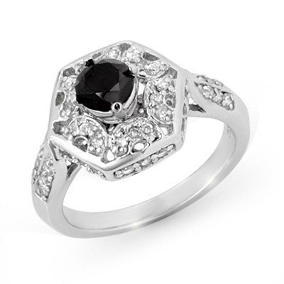Certified 1.15ctw White & Black Diamond Ring 14K Gold