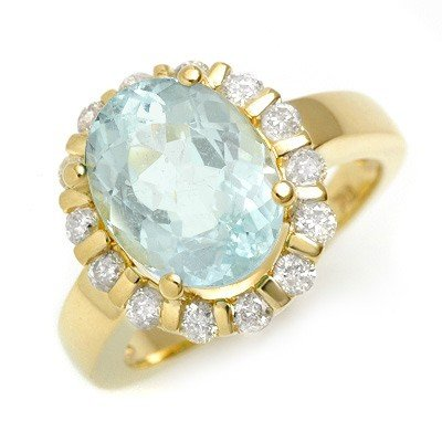 Fine 4.65ctw Diamond & Aquamarine Ring Gold