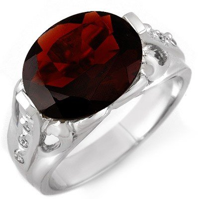 ACA Certified 4.70ctw Diamond & Garnet Ring White Gold