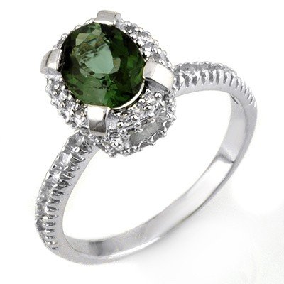Ring 2.10ctw ACA Certified Diamond & Green Tourmaline