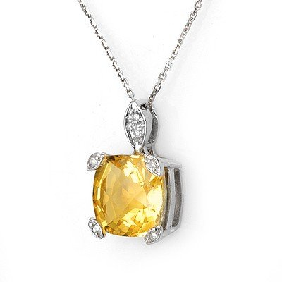ACA Certified 5.10ctw Diamond & Citrine Necklace Gold