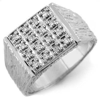 Fine 0.50ctw Certified Diamond Men's Ring in White Gold